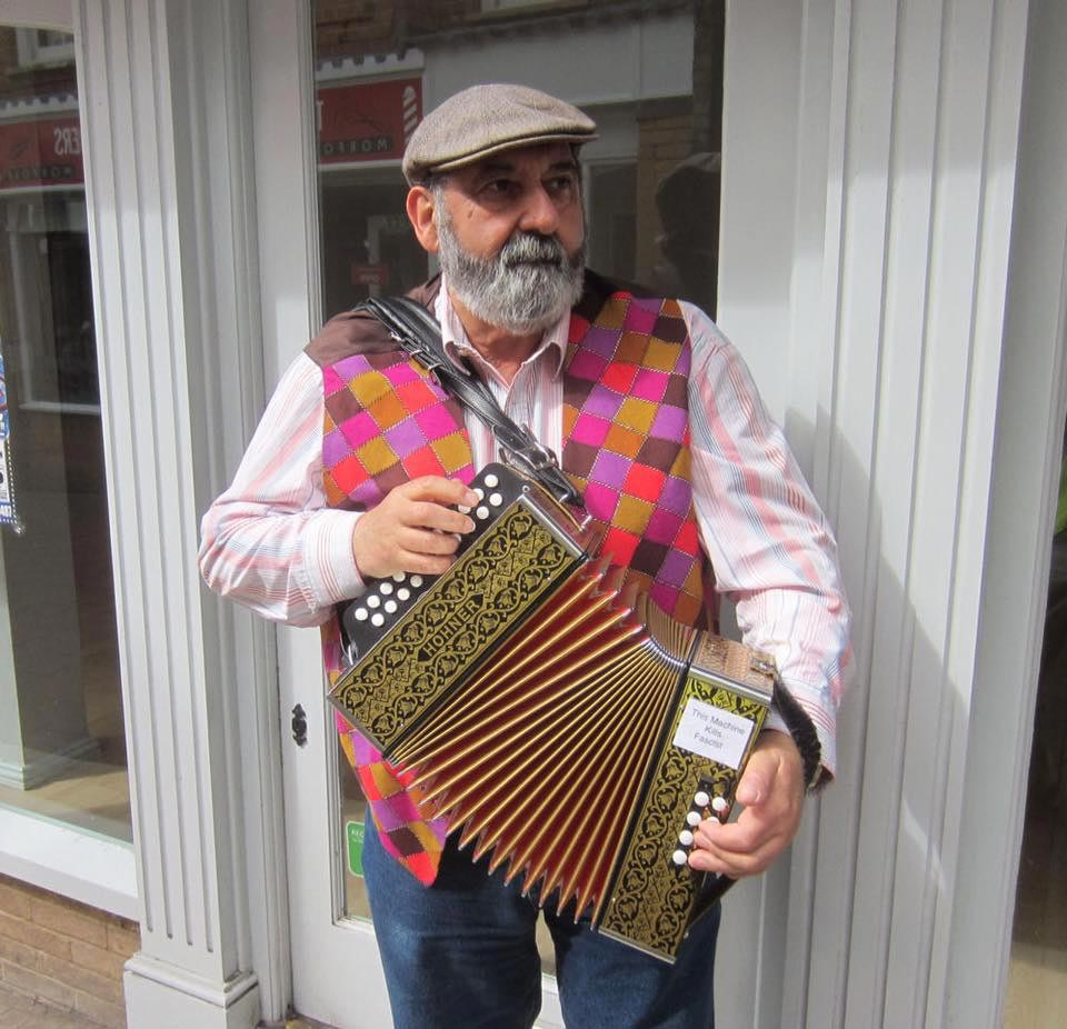 Festival of Buskers in Saffron Walden. Pete Isaacs donated his busking monies along with others to our charity.