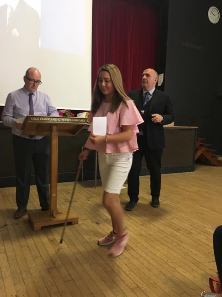 Joyce Franklin school Year 11s donated £217 towards Our research and Maddi receiving an award.