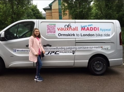 Cycle from Liverpool to Luton organised by two dads from Vauxhall dealership for the Save Our Maddi Appeal