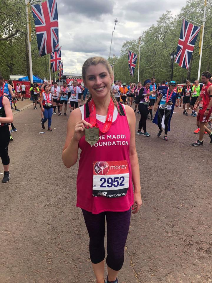 Clare Murray completing the London Marathon 2019