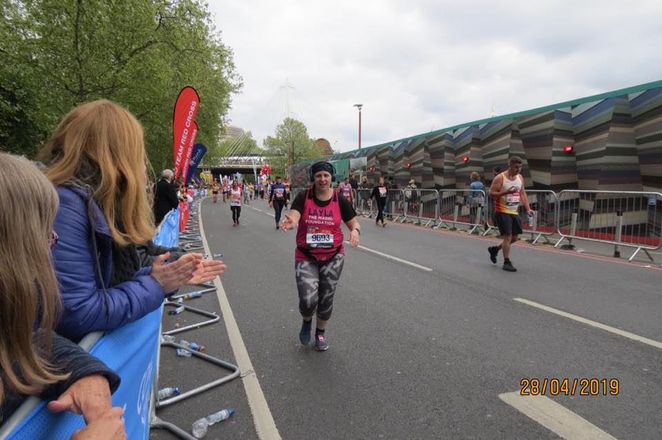 Layla Benning completing the London Marathon 2019